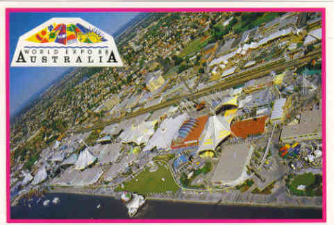 Postcard Aerial View of World Expo '88