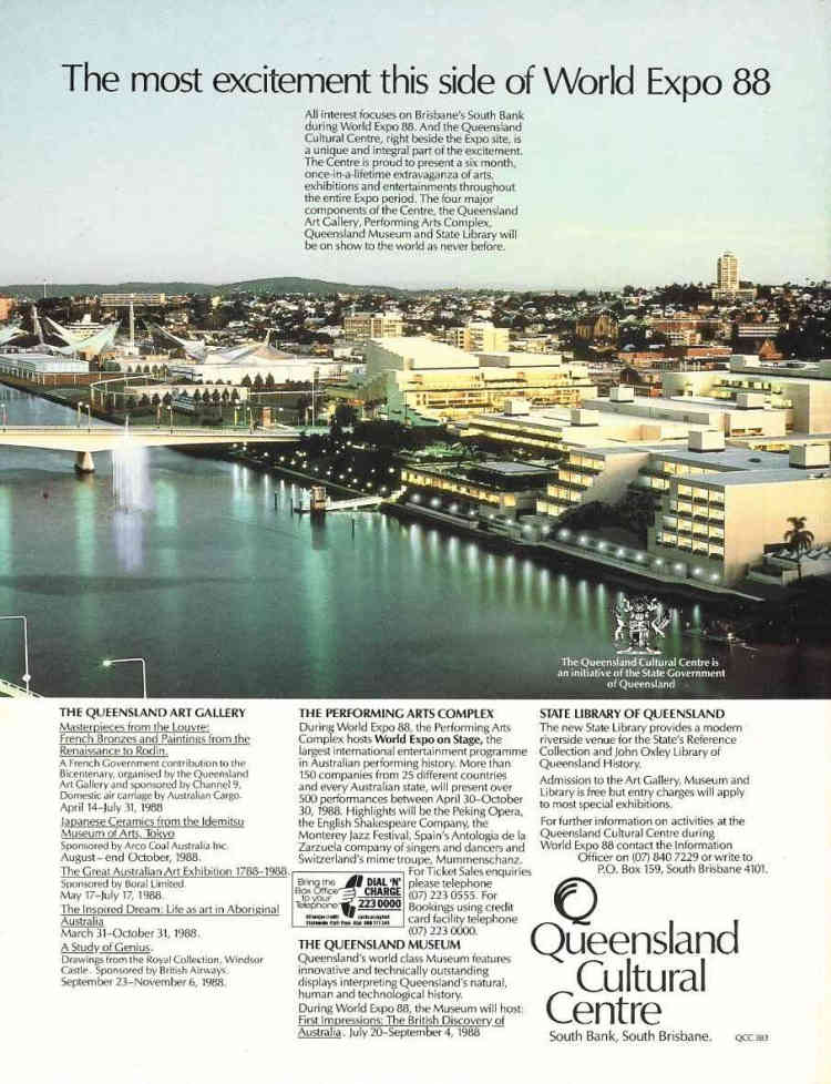 This advertisement was a popular fixture to the back cover of Official Souvenir Guide Books of World Expo '88